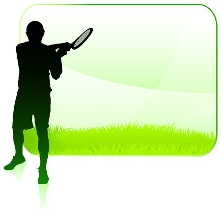 Tennis Player with Blank Nature Frame Original Vector Illustration Çizim
