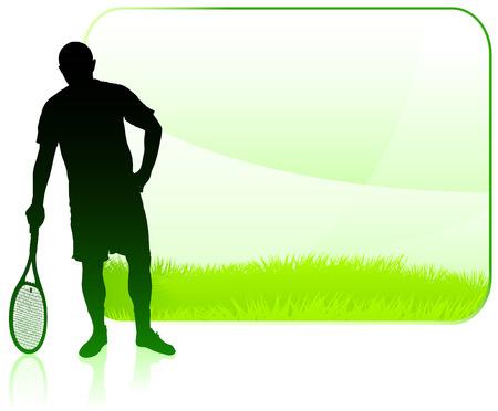 Tennis Player with Blank Nature Frame Original Vector Illustration Illustration