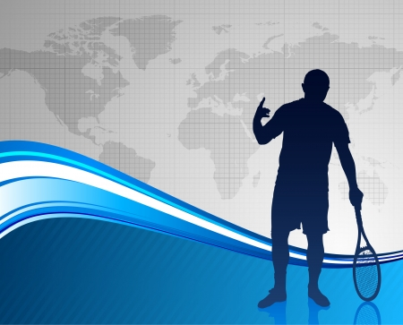 worl: Tennis Player on Abstract Blue Background with Worl Map Original Vector Illustration