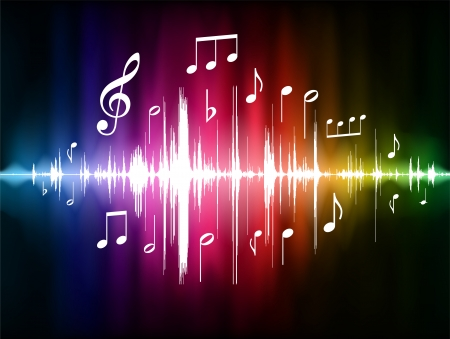 Color Spectrum Pulse with Musical NotesOriginal Vector Illustration Vettoriali