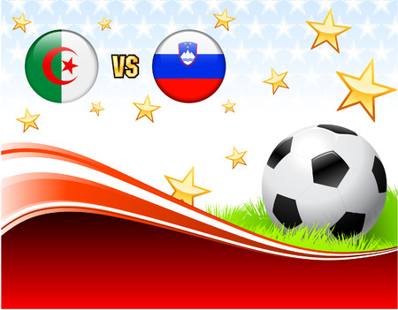 Algeria versus Slovenia on Abstract Red Background with Stars Original Illustration Vector