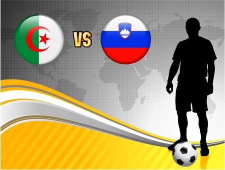 Algeria versus Slovenia on Abstract World Map Background