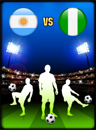 versus: Argentina versus Nigeria on Stadium Event Background Original Illustration