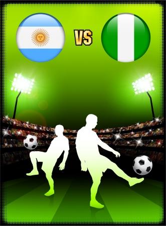 Argentina versus Nigeria on Stadium Event Background Original Illustration