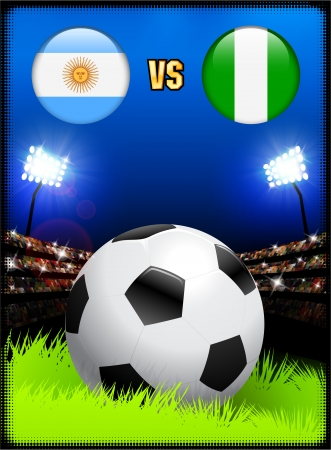versus: Argentina versus Nigeria on Soccer Stadium Event Background Original Illustration Illustration