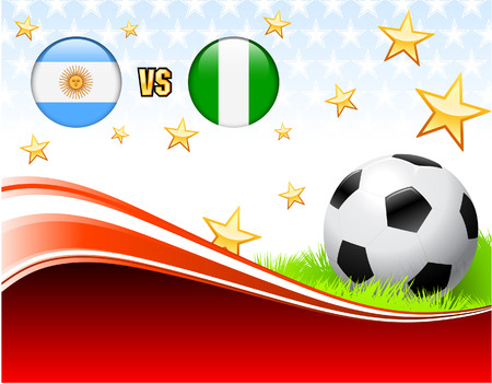 versus: Argentina versus Nigeria on Abstract Red Background with Stars Original Illustration