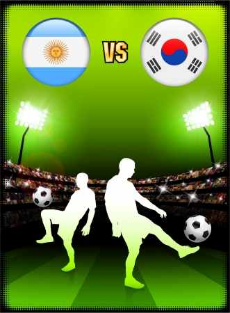 versus: Argentina versus South Korea on Stadium Event Background Original Illustration