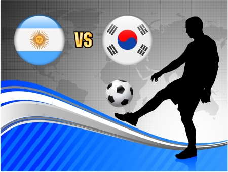 Argentina versus South Korea on Blue Abstract World Map Background