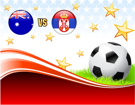 serbia: Australia versus Serbia on Abstract Red Background with Stars Original Illustration