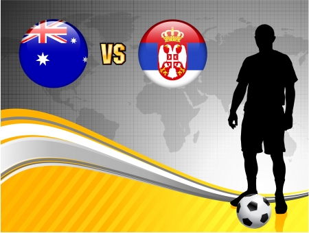 Australia versus Serbia on Abstract World Map Background Original Illustration