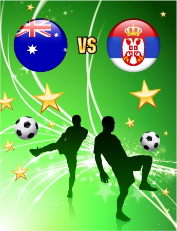 Australia versus Serbia on Abstract Green Stars Background Original Illustration