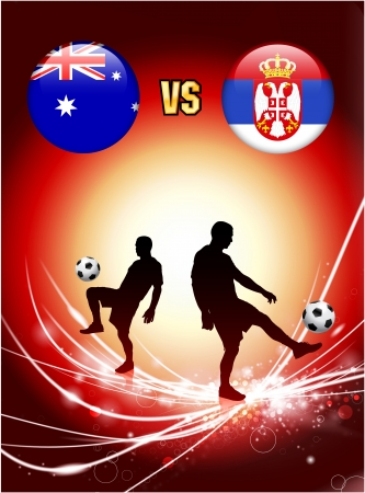 serbia: Australia versus Serbia on Abstract Red Light Background Original Illustration