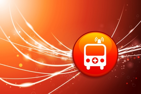 Ambulance Button on Red Abstract Light Background Original Illustration