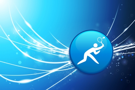 competitions: Badminton Button on Blue Abstract Light Background Original Illustration