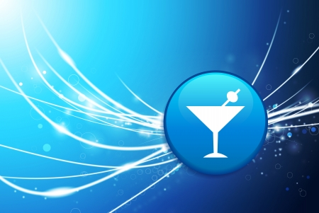 Martini Button on Blue Abstract Light Background Original Illustration