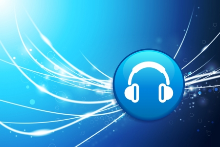 earphone: Headphones Button on Blue Abstract Light Background Original Illustration