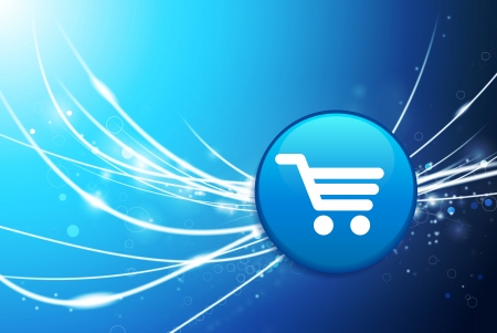 Shopping Cart Button on Blue Abstract Light Background Original Illustration Vector
