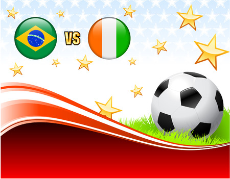 Brazil versus Ivory Coast on Abstract Red Background with Stars Original Illustration Vector