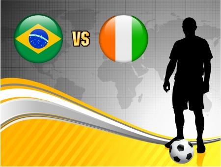 versus: Brazil versus Ivory Coast on Abstract World Map Background Original Illustration
