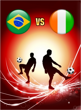 versus: Brazil versus Ivory Coast on Abstract Red Light Background Original Illustration