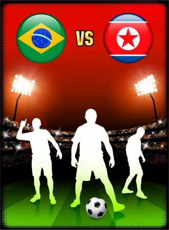 Brazil versus North Korea on Stadium Event Background Original Illustration Vector