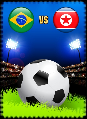 versus: Brazil versus North Korea on Soccer Stadium Event Background Original Illustration