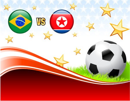 Brazil versus North Korea on Abstract Red Background with Stars Original Illustration Vector
