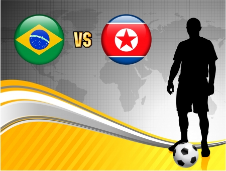 Brazil versus North Korea on Abstract World Map Background