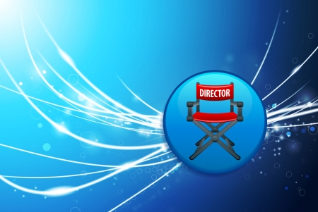 director chair: Director Chair Button on Blue Abstract Light Background Original Illustration