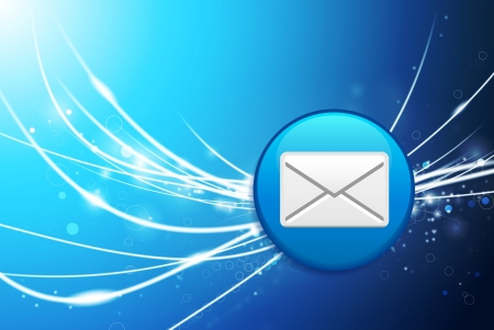 recieve: Email Button on Blue Abstract Light Background Original Illustration