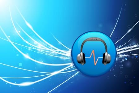 Headphones Button on Blue Abstract Light Background Original Illustration