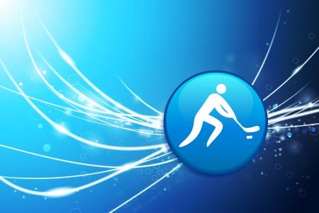 puck: Hockey Button on Blue Abstract Light Background Original Illustration