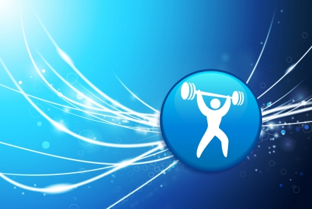 Weightlifter Button on Blue Abstract Light BackgroundOriginal Illustration