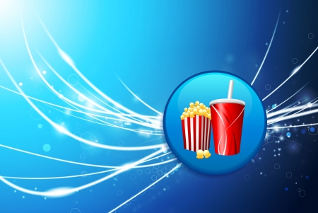 Fast Food Button on Blue Abstract Light BackgroundOriginal Illustration Stock Vector - 22430422