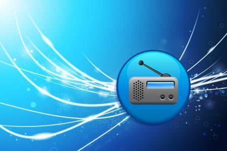 radio button: Pulsante di opzione su sfondo blu di luce astratto Illustrazione originale