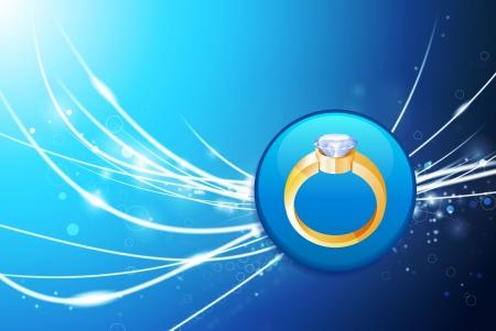 bague de fiancaille: Bouton de la bague de fian�ailles sur fond bleu de lumi�re abstraite Illustration originale Illustration