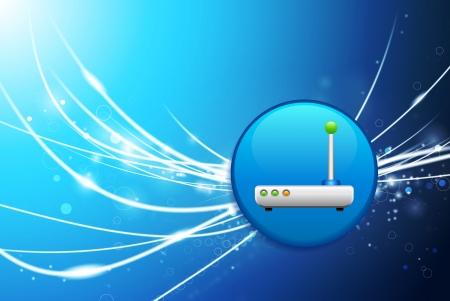 Routerknoop op Blauwe Abstracte Lichte Originele Illustratie Als achtergrond