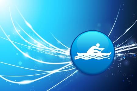 Rowing Button on Blue Abstract Light BackgroundOriginal Illustration