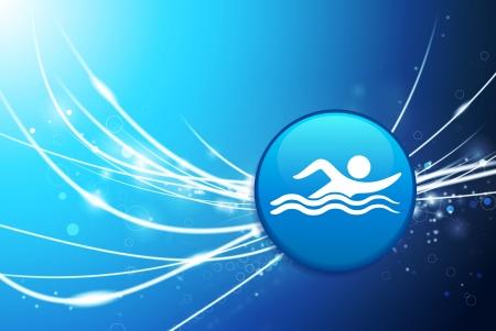 Swimmer Button on Blue Abstract Light BackgroundOriginal Illustration