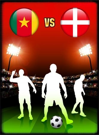 Cameroon versus Denmark on Stadium Event Background Original Illustration