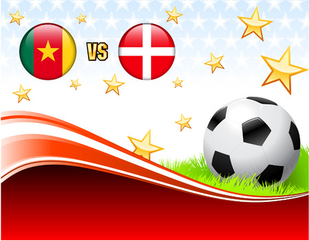 Cameroon versus Denmark on Abstract Red Background with Stars Original Illustration Ilustrace