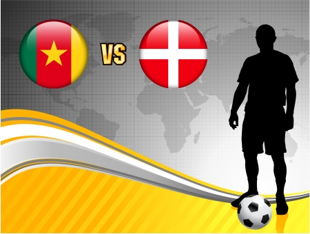 versus: Cameroon versus Denmark on Abstract World Map Background Original Illustration