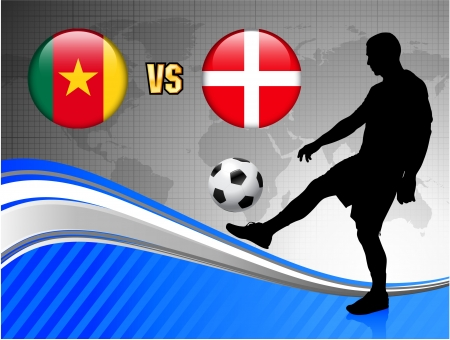 Cameroon versus Denmark on Blue Abstract World Map Background Original Illustration Vector