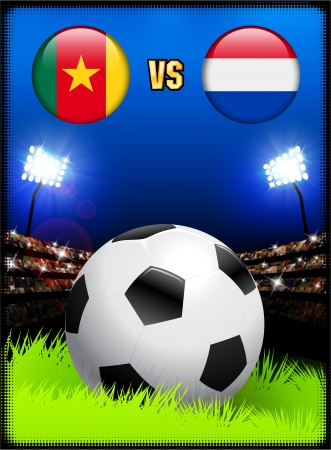 Cameroon versus Netherlands on Soccer Stadium Event Background Original Illustration Vector