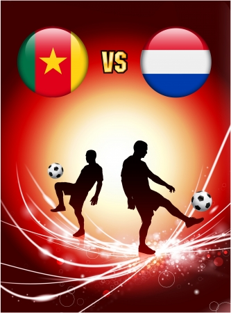 Cameroon versus Netherlands on Abstract Red Light Background Original Illustration Vector
