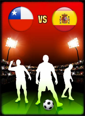 versus: Chile versus Spain on Stadium Event Background Original Illustration