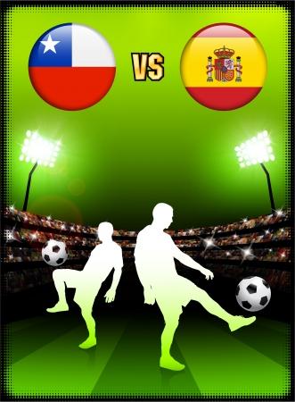 Chile versus Spain on Stadium Event BackgroundOriginal Illustration