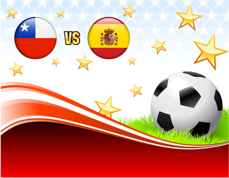 Chile versus Spain on Abstract Red Background with Stars Original Illustration Illustration