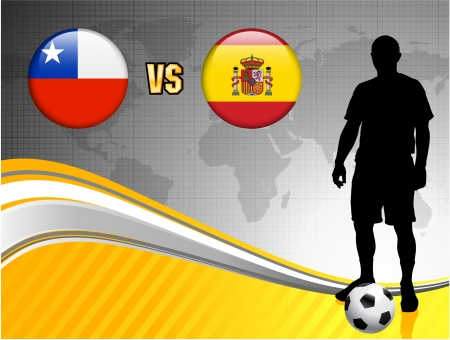Chile versus Spain on Abstract World Map Background Original Illustration Illustration
