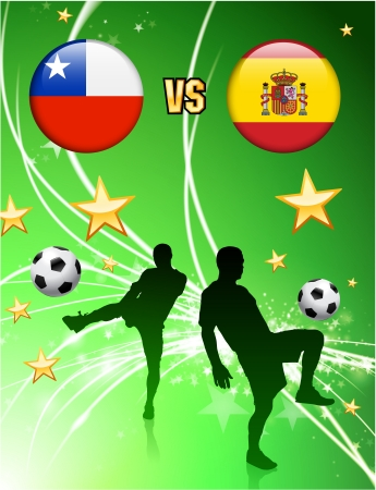 versus: Chile versus Spain on Abstract Green Stars Background Original Illustration